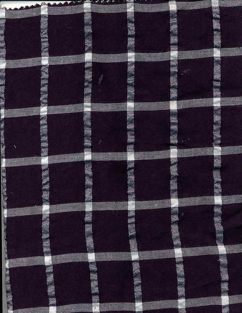 RYN-PLD-5367 / NAVY/WHITE / RAYON POLY CRINKLE PLAID R/P 80/20