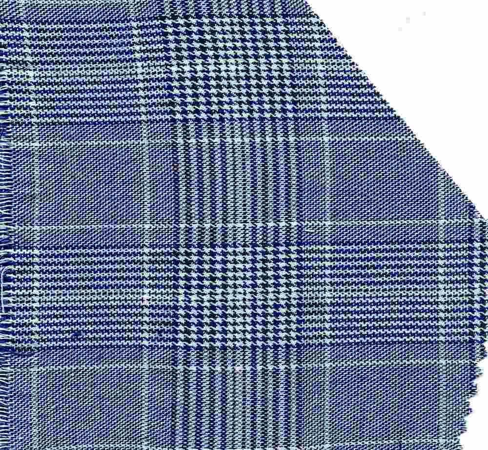 TR-PLD-1024 / BLUE/WHITE / POLY RAYON SPANDEX PLAID P/R/S 83/16/1