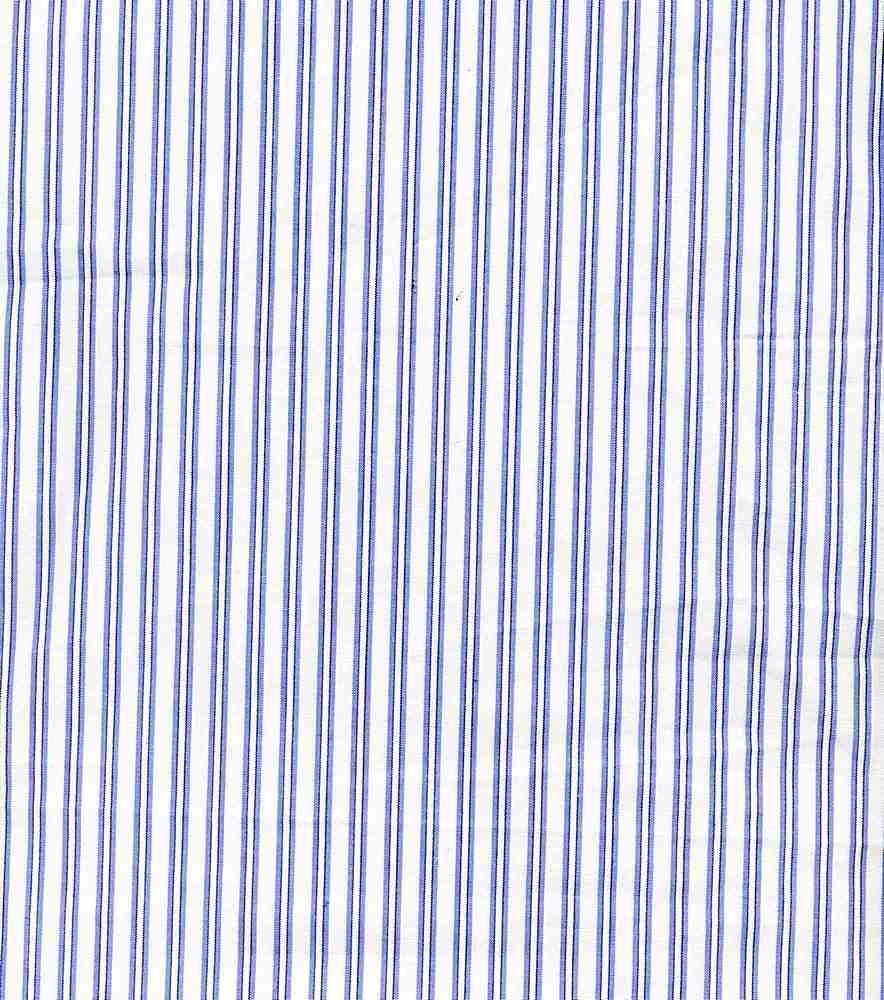 POP-STP-013 / WHITE/BLUE / POLY COTTON STRIPE  P/C 65/35