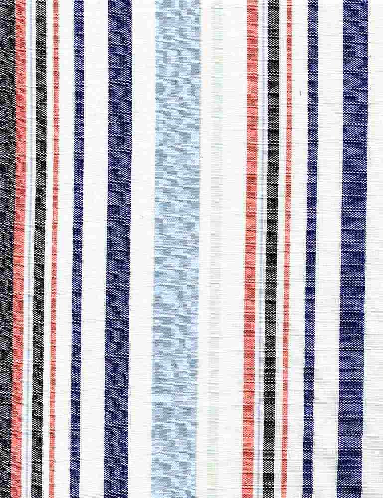 C-LIN-STP-2408 / NAVY/BLUE / 100%COTTON LINEN LOOK STRIPE