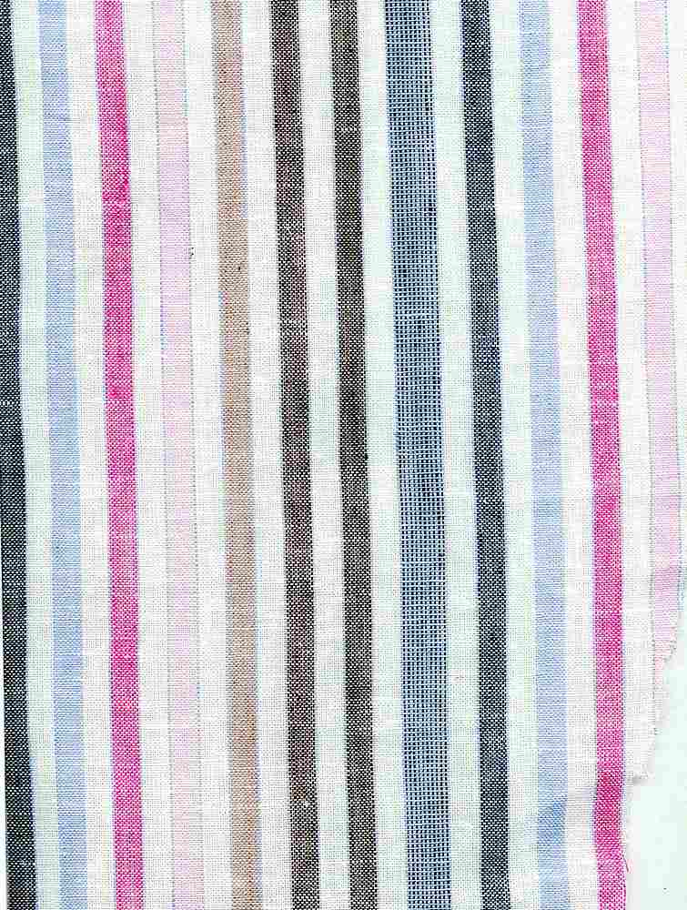 LIN-C-STP-2950 / PINK/FUSHIA/SKY / LINEN COTTON Multiple STRIPE 55/45