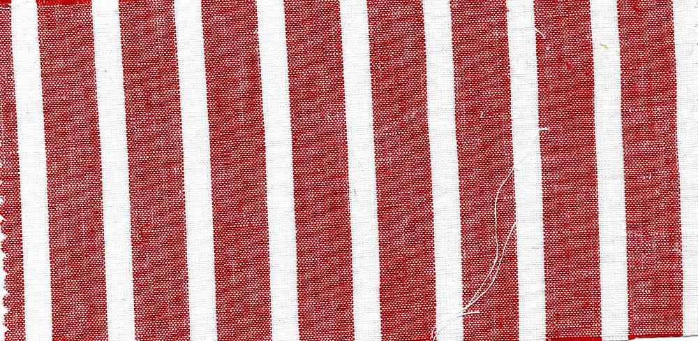 LIN-C-STP-997 / RED/WHITE / 55/45 LINEN COTTON Y/D STRIPE