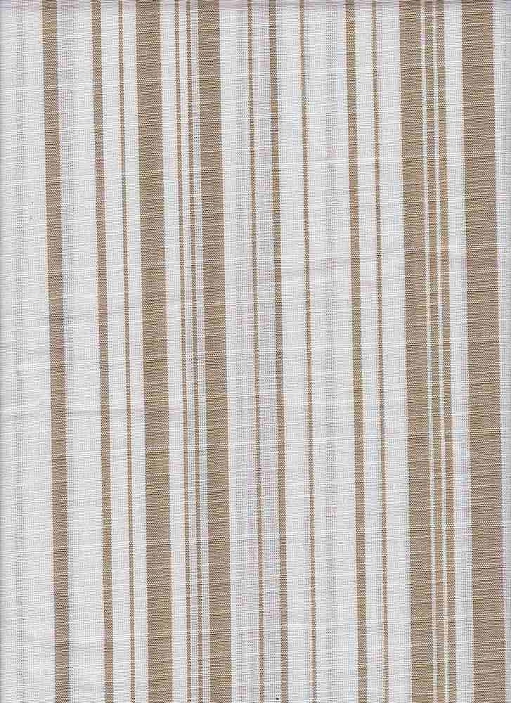 C-LIN-STP-2410 / OLIVE/WHITE / 100%COTTON LINEN LOOK STRIPE