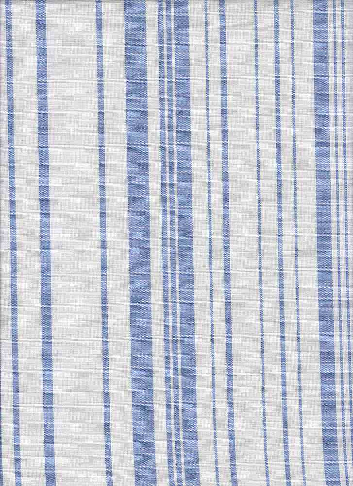 C-LIN-STP-2410 / SKY/WHITE / 100%COTTON LINEN LOOK STRIPE