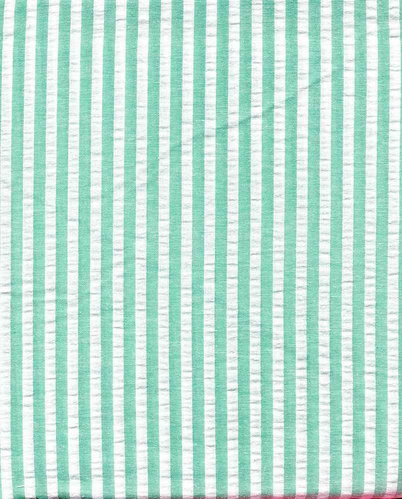 SEERS-STP-1/4 / OCEAN/IVORY / Cotton Spandex Seer Succer 98/2