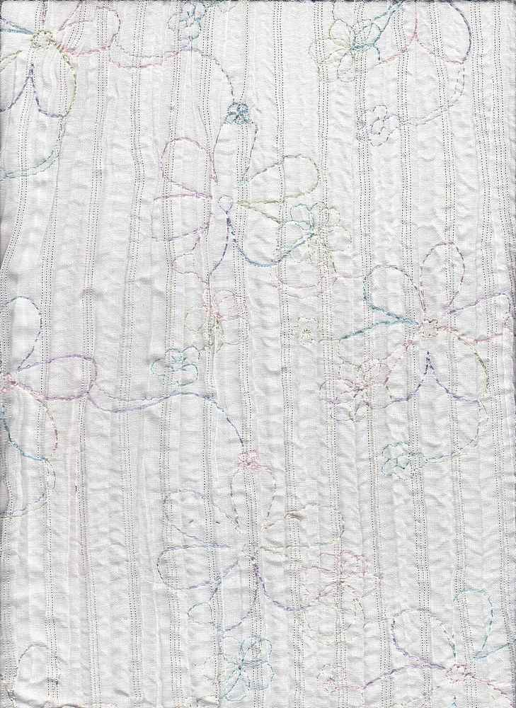EMB-550A / WHITE / T/C 65%35% EMBROIDERY, VOILE, CRINKLE, LUREX