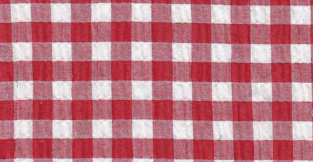 SEERS-PLD-064 / RED/WHITE / STRETCH SEER SUCKER CTN SPANDEX  97/3