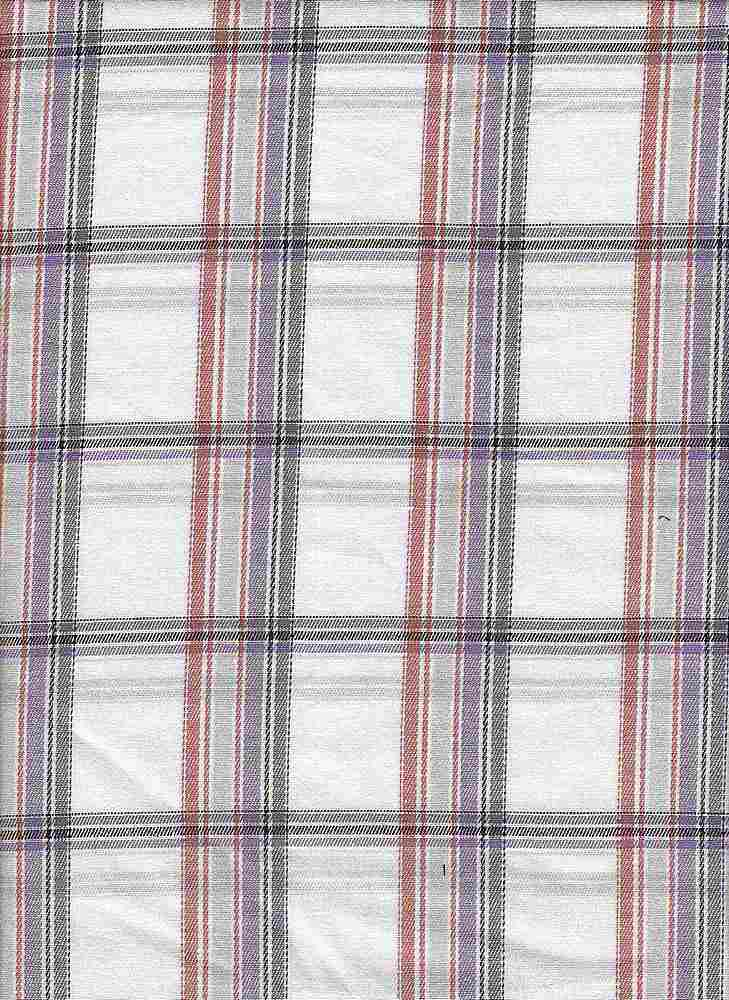 TWLS-PLD-8-18 / ORANGE/PURPLE / ST.TWILL PLAID [97%CTN/3%SPDX]