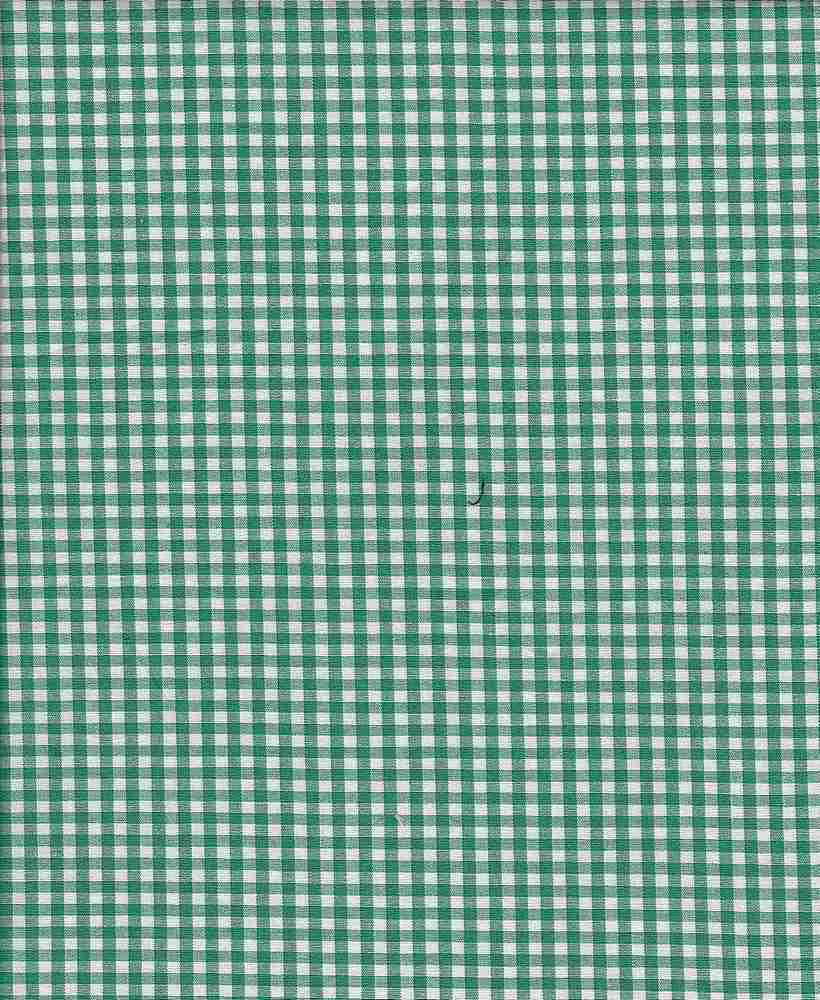 POPS-CHK-1229 / GREEN/WHITE / STRETCH POPLIN YARNDYE CHECKER C/S 97/3