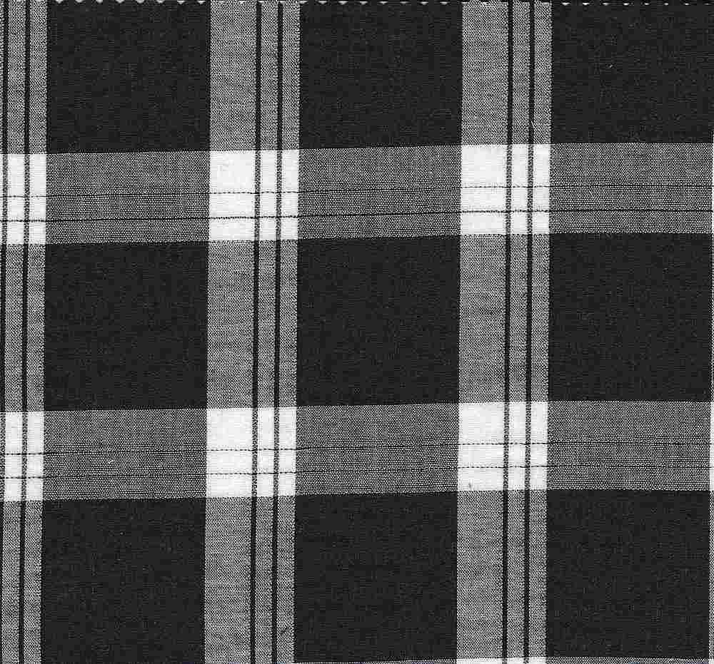 LWN-PLD-8-17 / BLACK/WHITE / 100% COTTON LAWN PLAID