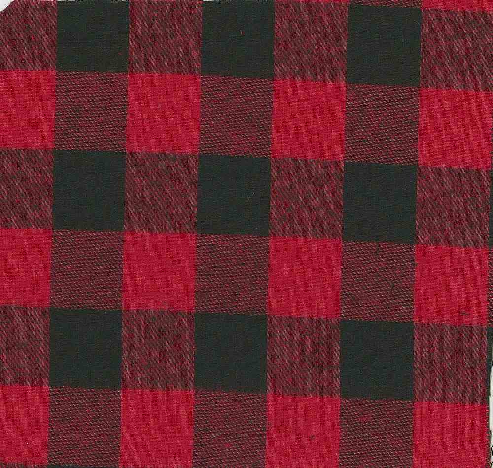 FLN-PLD-8-11 / RED/BLACK / 100%COT.FLANNEL Y/D PLAID