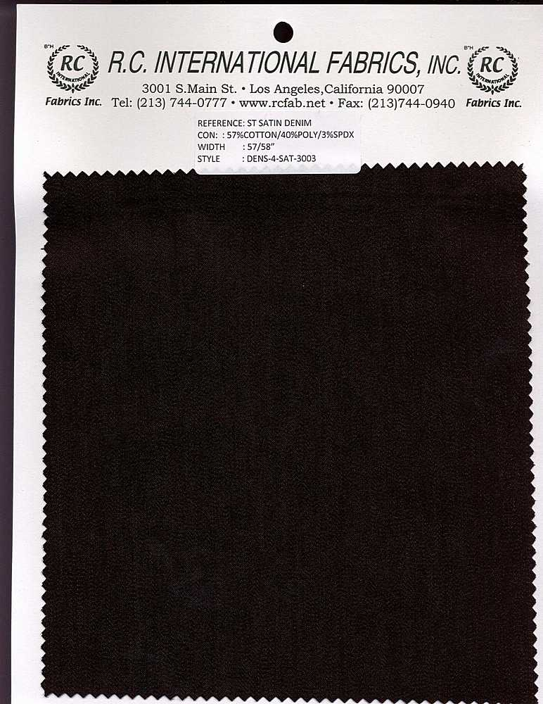 DENS-4-SAT-3003 / BLACK / STCH SATIN DENIM57/40/3-C/P/S