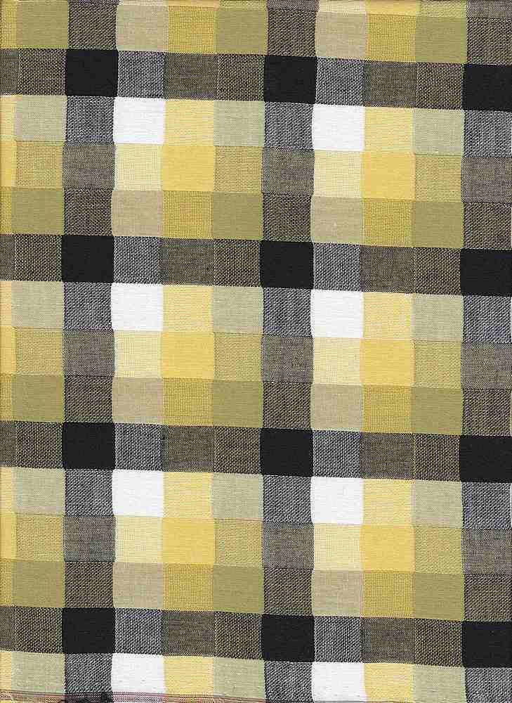 POP-PLD-43 / LIME / YARN DYED SQUARE PLAID 100%COTTON