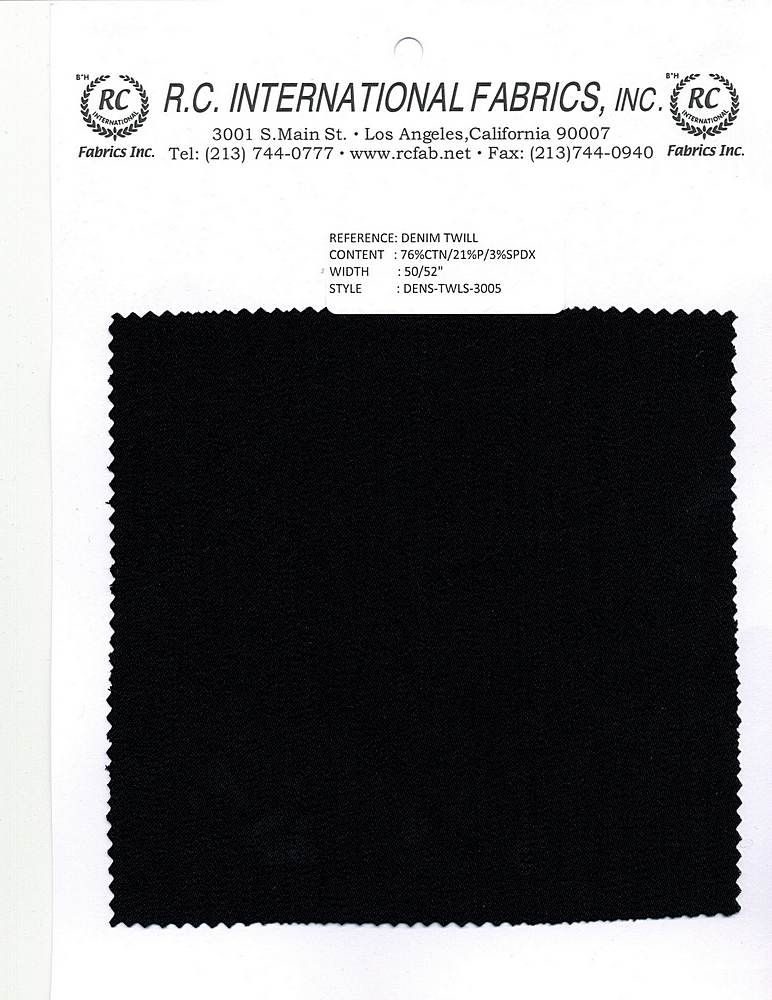 DENS-TWLS-3005 / BLACK / 76% COTTON 21% POLY 3% SPANDEX