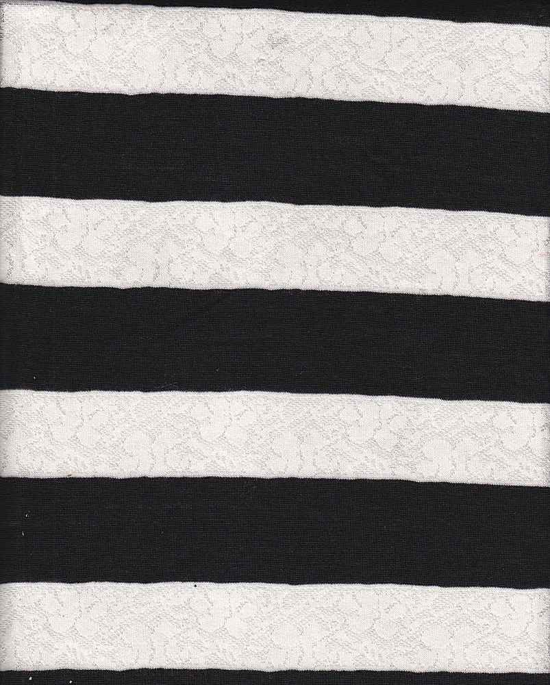JER-LACE-STP-61 / WHITE/BLACK / JERSY LACE STIPE 1.5""