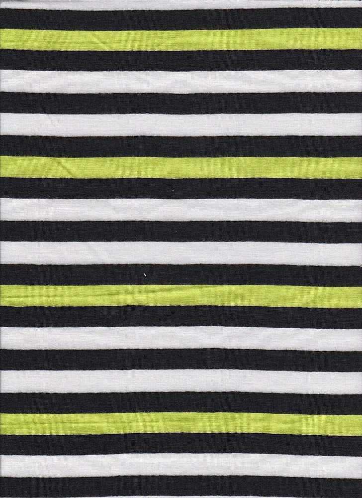 "JER-STP-369 / LEMON/BLACK / P/R 50/50  1/2""STRIPE JERSEY"