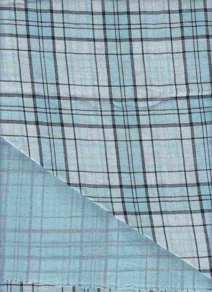 DBLF-PLD-25 / AQUA/WHITE / 100% COTTON DBLF GAUZE PLAID