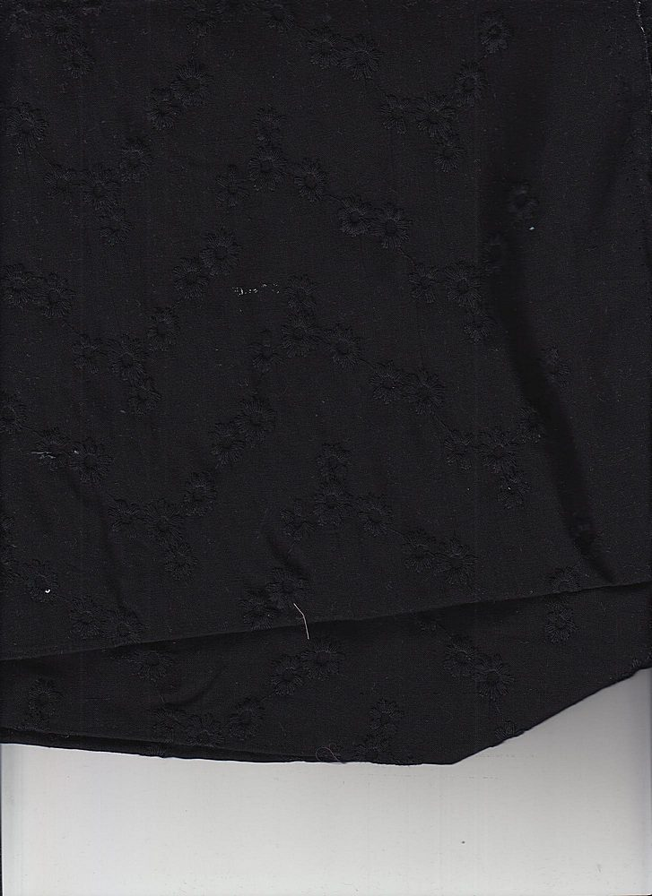EMB-258-2 / BLACK / 100% COTTON EMBROIDERY