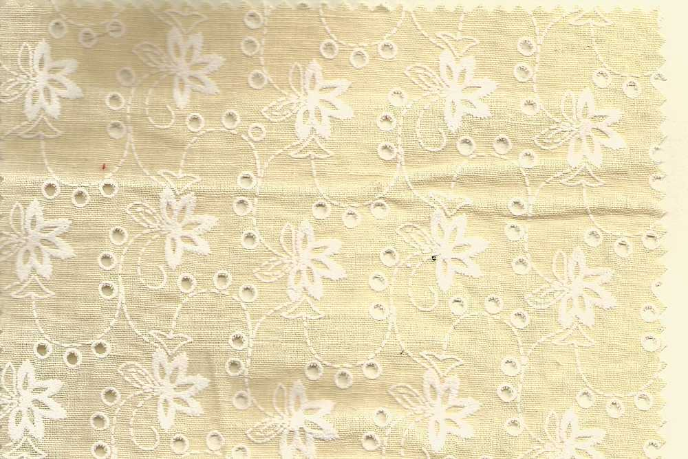 EMB-663 / BEIGE/WHITE / 100% COTTON EMBRODERY EYELET