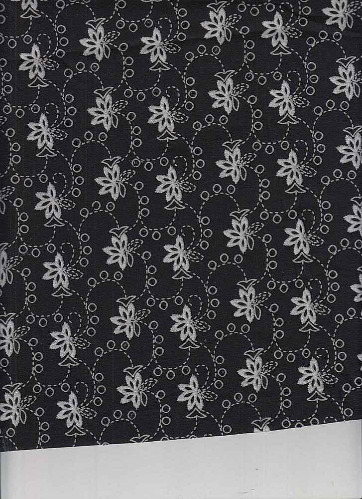 EMB-663 / BLACK/WHITE / 100% COTTON EMBRODERY EYELET