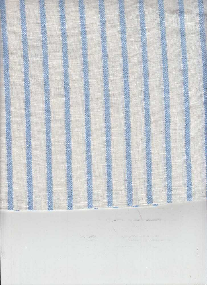 LIN-STP-018 / SKYBLUE/WHITE / LINEN COTTON Y/D STRIPE 55/45