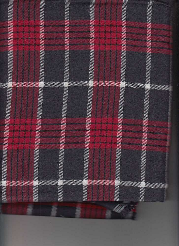FLN-PLD-216 / RED/CHARCOAL / 100% COTTON FLANEL Y/D PLAID