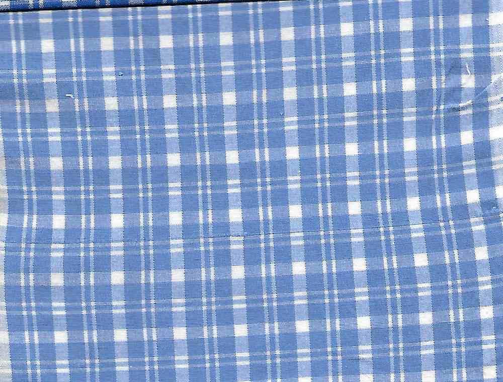 POPS-CHK-616-1 / BLUE/WHITE / COTTON STRECH POPLIN CHECKER 97/3