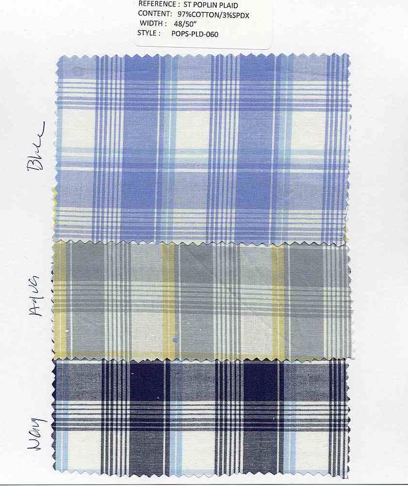 POPS-PLD-060 / BLUE / ST.COTTON POPLIN PLAID