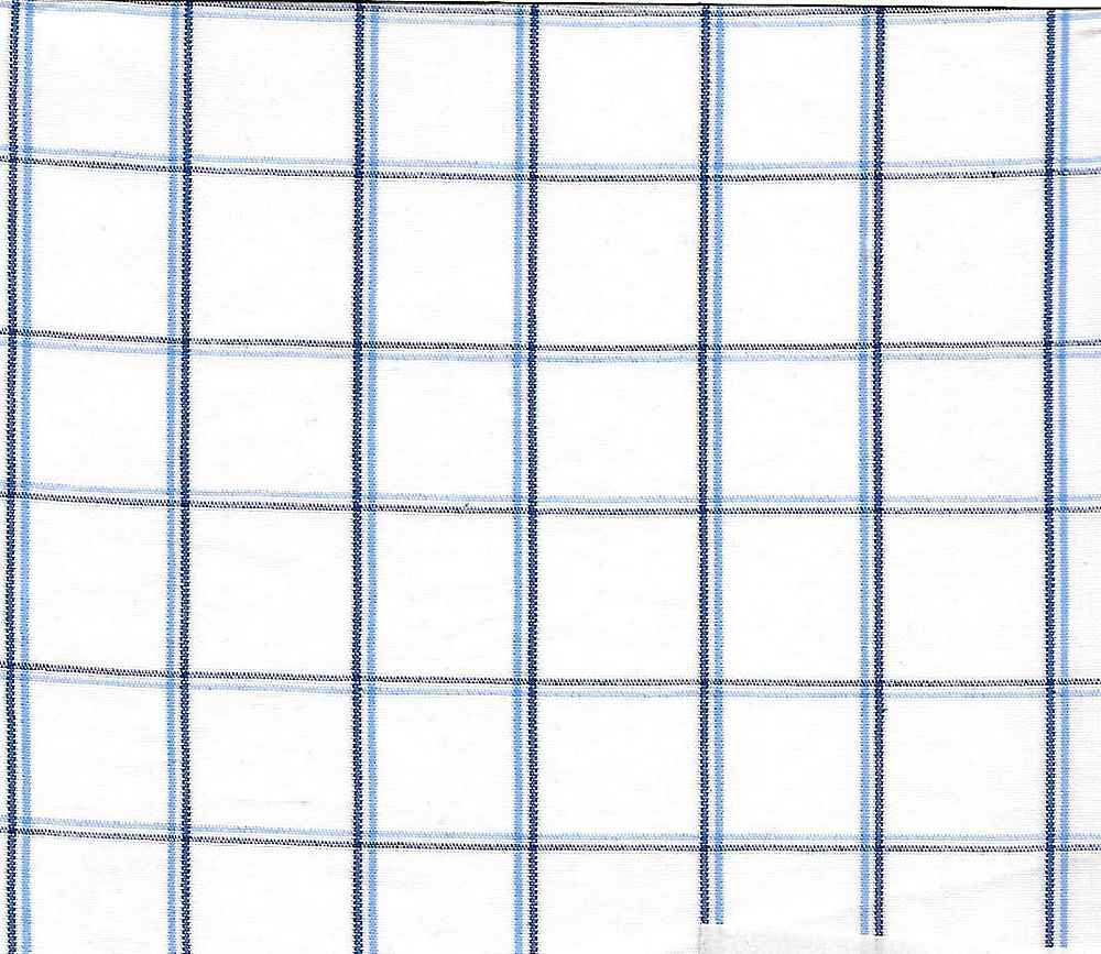 POP-PLD-716-3 / WHITE/ROYAL / 100% COTTON POPLIN PLAID