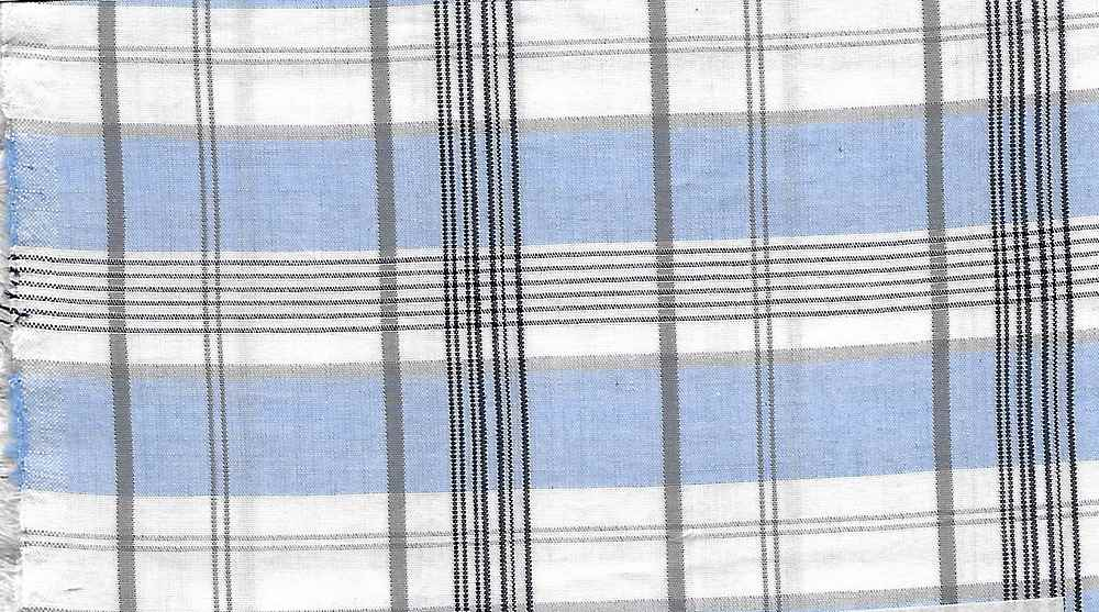 POP-PLD-716-2 / WHITE/BLUE / 100% COTTON POPLIN PLAID
