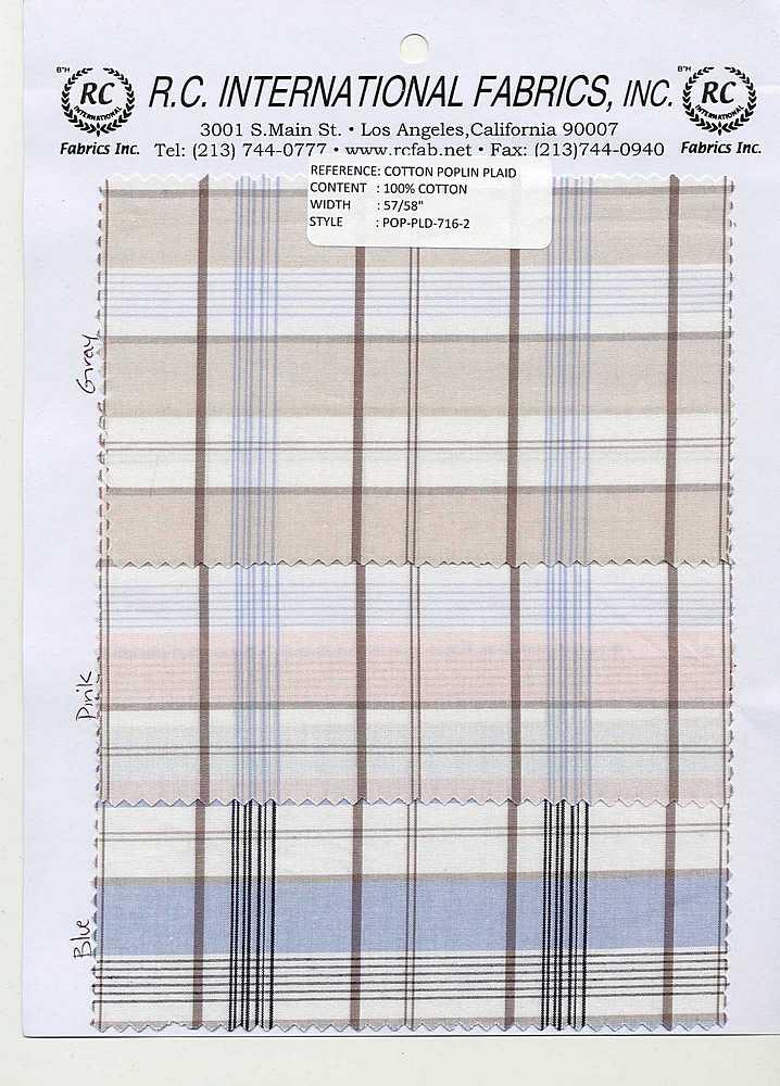 POP-PLD-716-2 / WHITE/PINK / 100% COTTON POPLIN PLAID