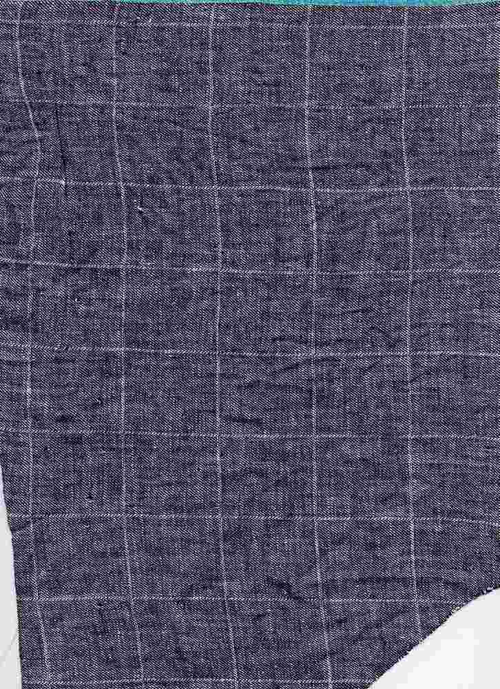 LIN-PLD-16500 / INDIGO / LINEN COTTON PLAID 55/45 4 OZ.