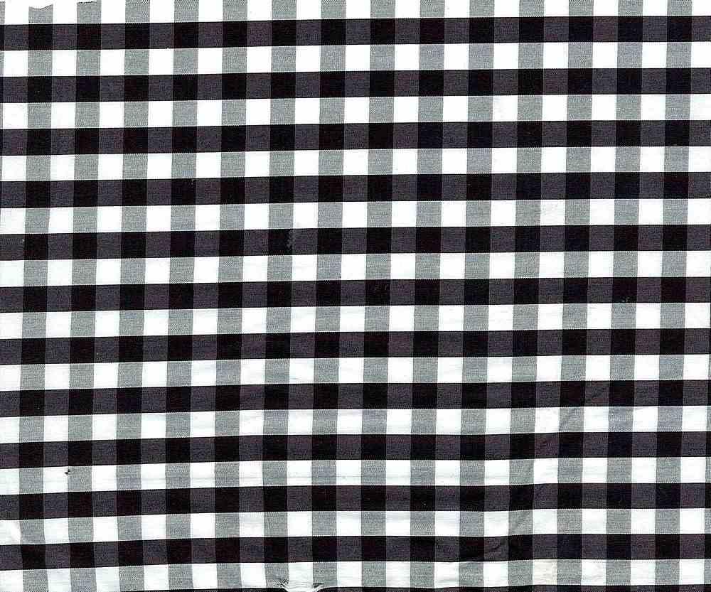 POPS-N-CHK-1229 BLACK/ WHITE COTTON STRETCH POPLIN CHECKER NYLON