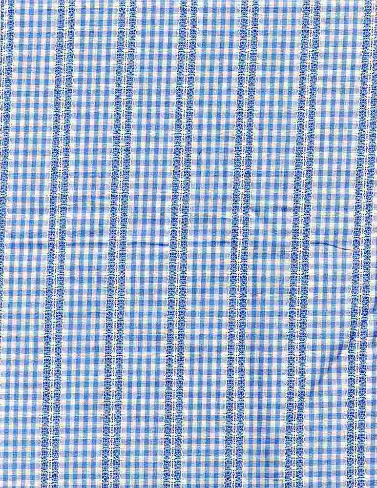 POP-DB-CHK-2805 / SKY/WHITE / 100% COT.POPLIN DOBBY Y/D CHECK