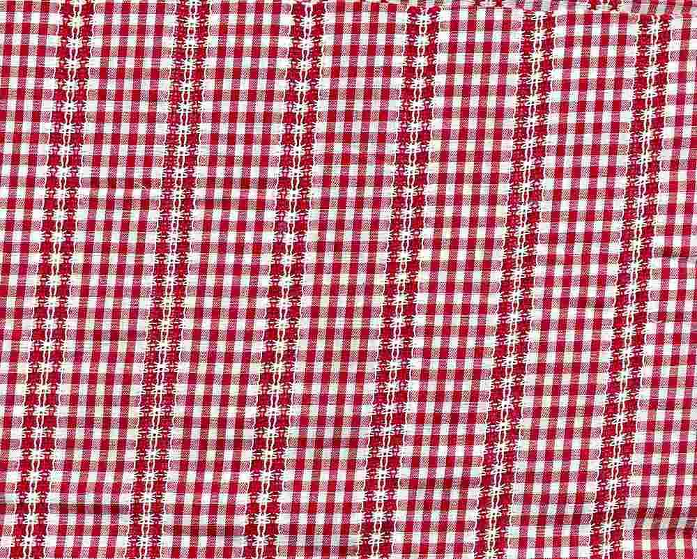 POP-DB-CHK-2805 / RED/WHITE / 100% COT.POPLIN DOBBY Y/D CHECK