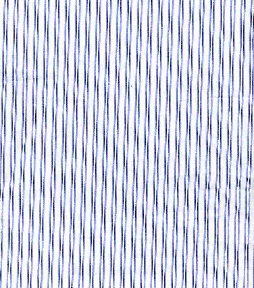 POP-STP-013 / WHITE/BLUE / POLY COTTON STRIPE P/C 65/35