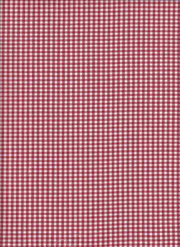 POPS-CHK-1229 / RED/WHITE / STRETCH POPLIN YARNDYE CHECKER C/S 97/3