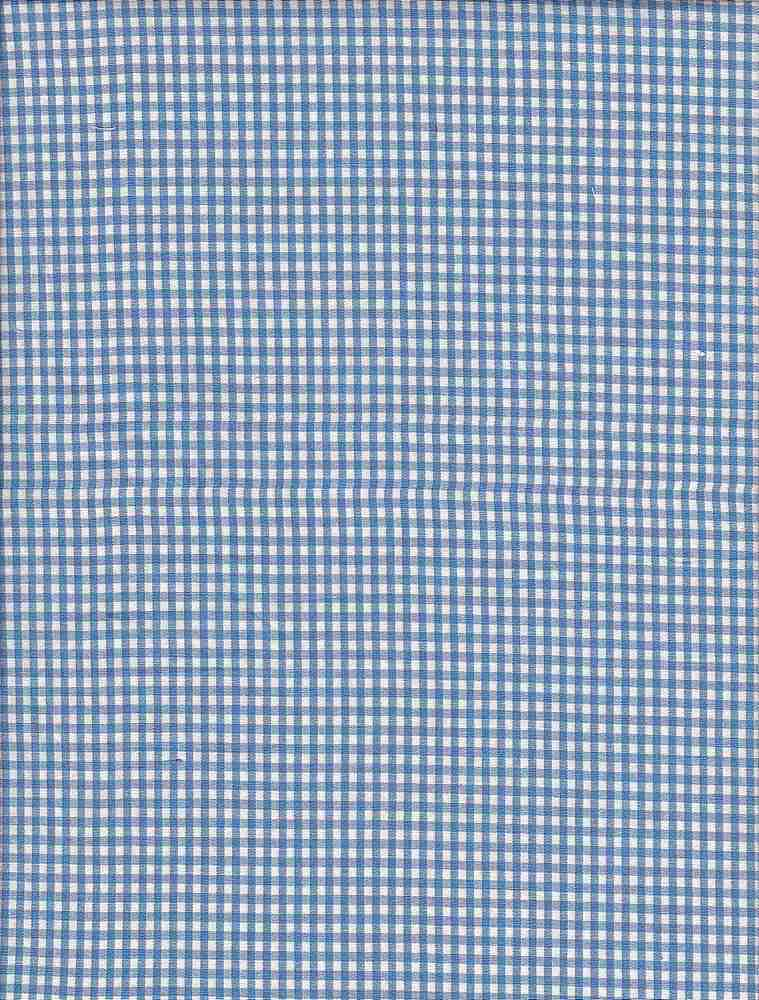 POPS-CHK-1229 / BLUE/WHITE / STRETCH POPLIN YARNDYE CHECKER C/S 97/3