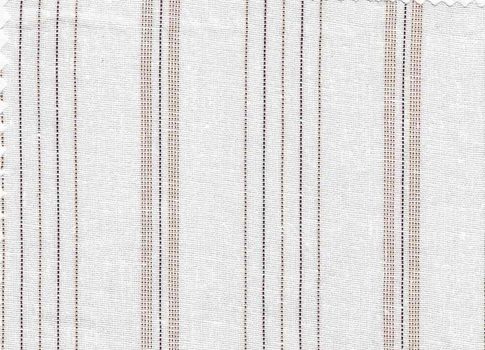 LIN-R-STP-4433 / WHITE/BROWN / LINEN/RAYON YARNDYED STRIPE