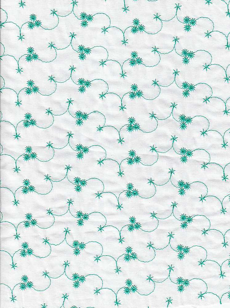 EMB-156 / WHITE/GREEN / COT.LAWN EMBROIDERY EYELET