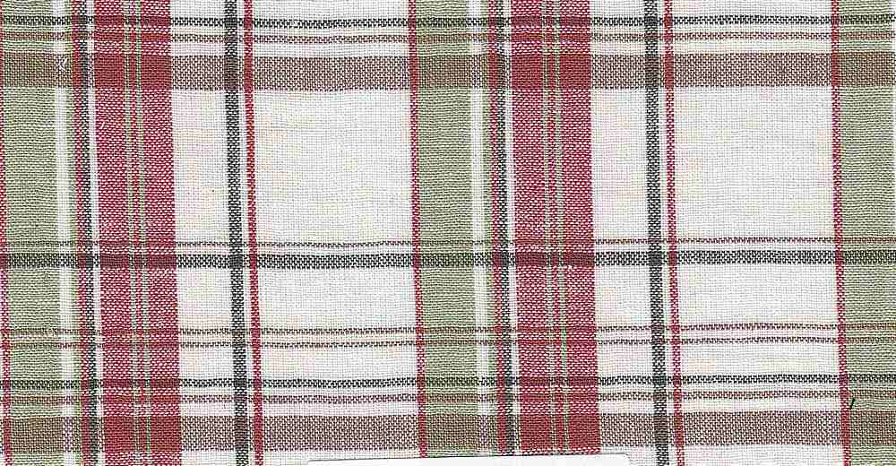 LIN-C-PLD-4439  / OLIVE/RED       / 55%LINEN/45%COTTON PLAID