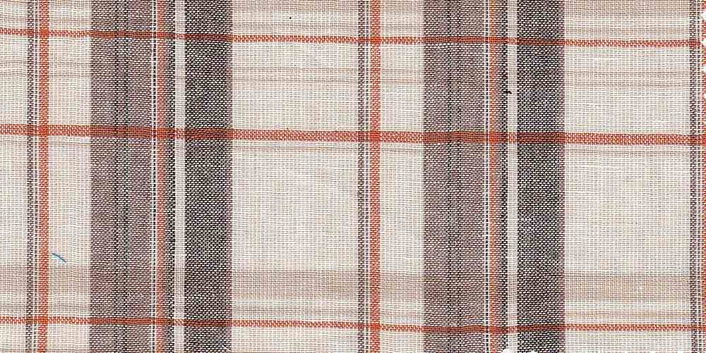 LIN-C-PLD-4439 / RED/ORG/BRW / 55%LINEN/45%COTTON PLAID