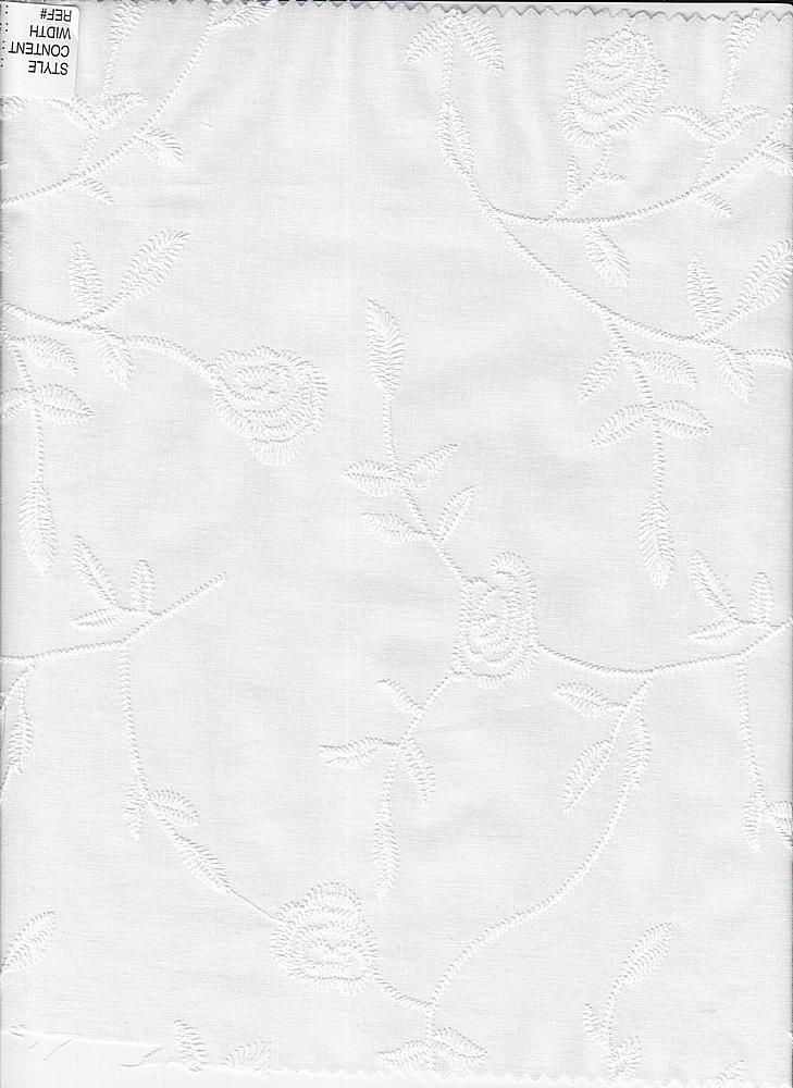 EMB-66-4 / WHITE / 100% Cotton Lawn Embroidery