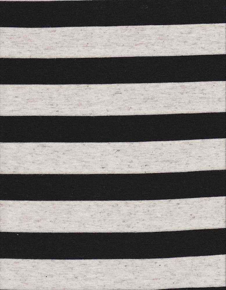 JER-PRL-STP-008 / BLACK / PLY RYN LINEN Y/D STRIPE JERSEY50/43/7-P/R/L