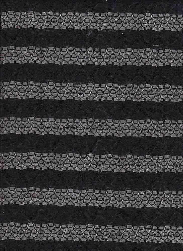 JER-LACE-STP-14 / BLACK / JERSEY LACE STRIPE 77/23-R/P
