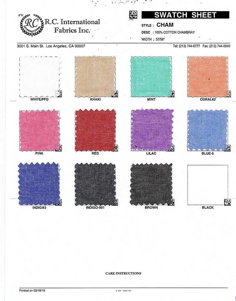 CHAM / BLUE-5 / 100% COTTON CHAMBRAY