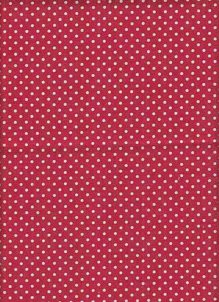 CHAM-7-DOT-PIN / RED/WHITE DT / 100% COTTON CHAMBRAY-DEN-7 WHITE PIN DOT