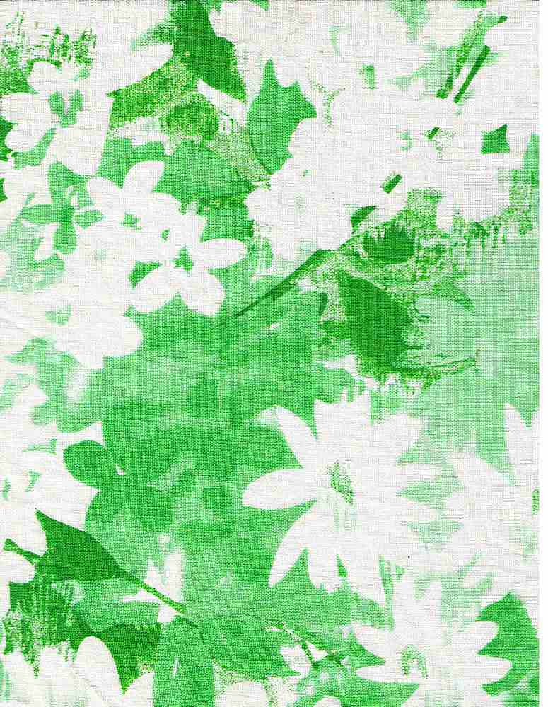 LIN-R-PRINT-30 / GREEN/WHITE / L/R PRINT,WATER COLOR FLWR 55/45
