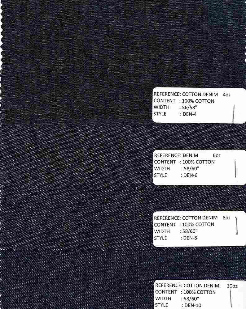 DEN-4-B / INDIGO / 100% COTTON DENIM 4-OZ