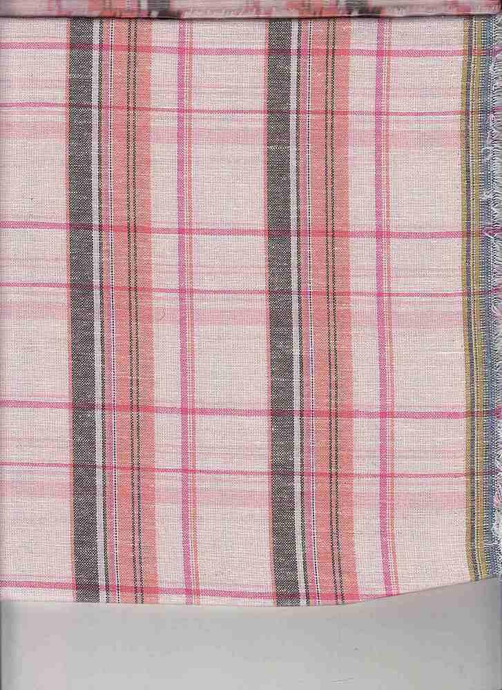 LIN-C-PLD-4439 / PINK / COTTON LINEN PLAID 70/30